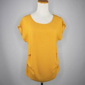 Persaya mustard crepe blouse shell cap sleeves (S)